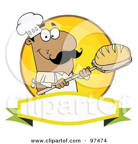 Royalty-Free (RF) Clipart Illustration of a Hispanic Baker Holding Bread Over A Yellow Circle And Blank Banner by Hit Toon