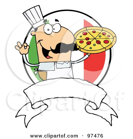 Royalty-Free (RF) Clipart Illustration of a Male Pizzeria Chef Holding A Pizza Pie With A Blank Banner And Italian Flag by Hit Toon