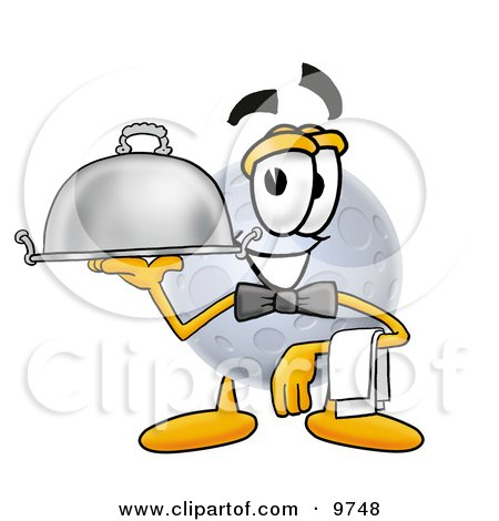 Clipart Picture of a Moon Mascot Cartoon Character Dressed as a Waiter and Holding a Serving Platter by Toons4Biz