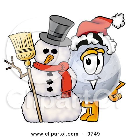 Clipart Picture of a Moon Mascot Cartoon Character With a Snowman on Christmas by Toons4Biz