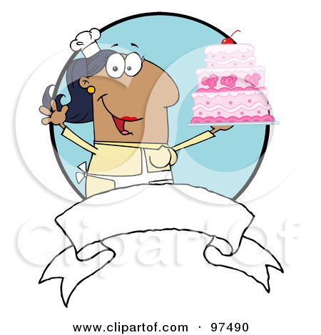 Royalty-Free (RF) Clipart Illustration of a Hispanic Woman Holding Up A Cake Over A Blank Banner And Blue Circle by Hit Toon
