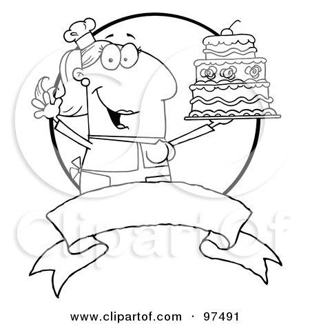 Royalty-Free (RF) Clipart Illustration of an Outlined Woman Holding Up A Cake Over A Blank Banner And Circle by Hit Toon