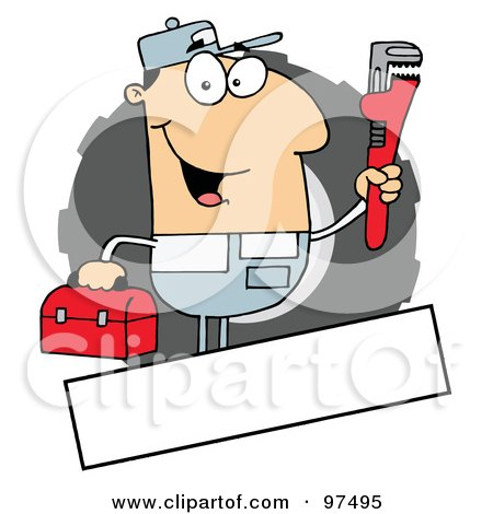 Royalty-Free (RF) Clipart Illustration of a Caucasian Auto Mechanic Logo With A Blank Text Box by Hit Toon