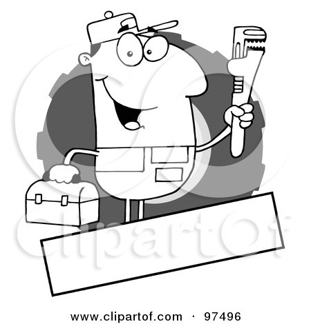 Royalty-Free (RF) Clipart Illustration of an Outlined Auto Mechanic Logo With A Blank Text Box by Hit Toon