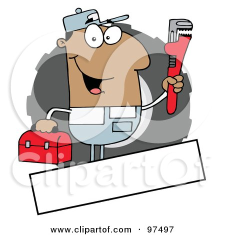 Royalty-Free (RF) Clipart Illustration of a Hispanic Auto Mechanic Logo With A Blank Text Box by Hit Toon