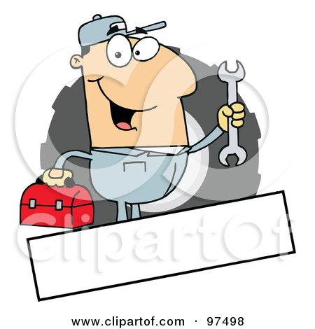 Royalty-Free (RF) Clipart Illustration of a Caucasian Mechanic Logo With A Blank Text Box by Hit Toon