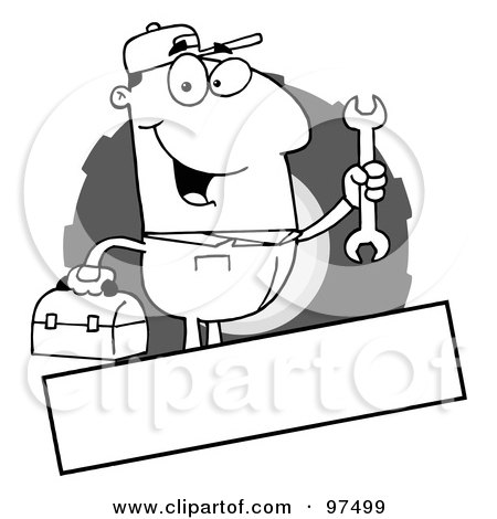 Royalty-Free (RF) Clipart Illustration of an Outlined Mechanic Logo With A Blank Text Box by Hit Toon