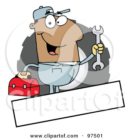 Royalty-Free (RF) Clipart Illustration of a Hispanic Mechanic Logo With A Blank Text Box by Hit Toon
