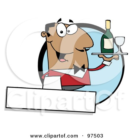 Royalty-Free (RF) Clipart Illustration of a Friendly Hispanic Waiter Serving Wine Logo by Hit Toon