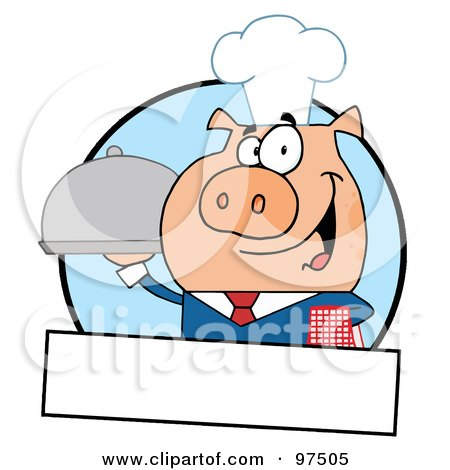 Royalty-Free (RF) Clipart Illustration of a Pig Waiter Serving A Platter Logo With A Text Box by Hit Toon