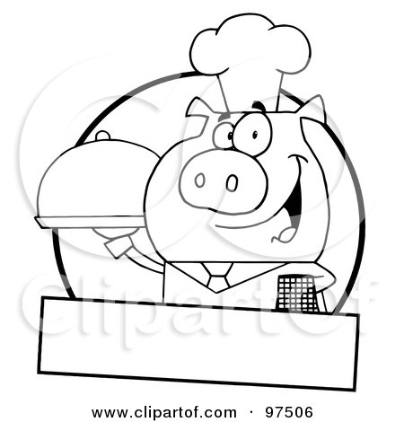 Royalty-Free (RF) Clipart Illustration of an Outlined Pig Waiter Serving A Platter Logo With A Text Box by Hit Toon