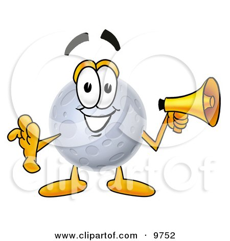 Clipart Picture of a Moon Mascot Cartoon Character Holding a Megaphone by Toons4Biz