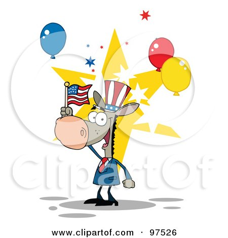 Royalty-Free (RF) Clipart Illustration of a Donkey Wearing A Patriotic Hat And Waving An American Flag by Hit Toon