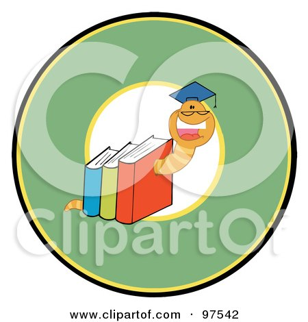 Royalty-Free (RF) Clipart Illustration of a Happy Book Worm Wearing A Graduation Cap Over A Green Circle by Hit Toon