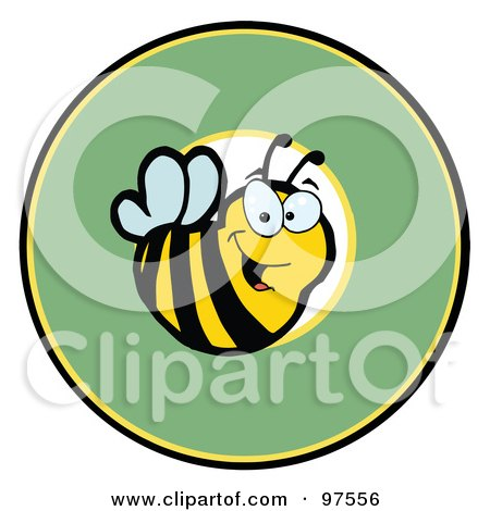 Royalty-Free (RF) Clipart Illustration of a Smiling Bee Over A Green Circle by Hit Toon