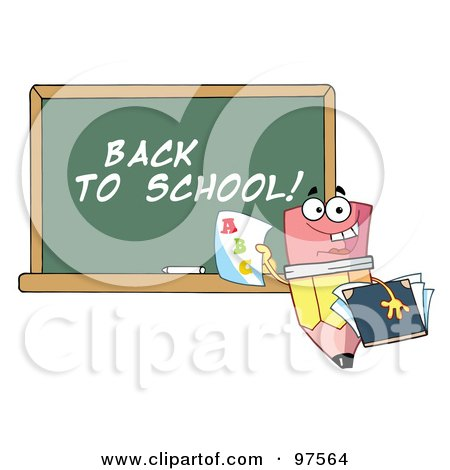 Royalty-Free (RF) Clipart Illustration of a Pencil Character Holding A Report Card In Front Of A Back To School Chalkboard by Hit Toon