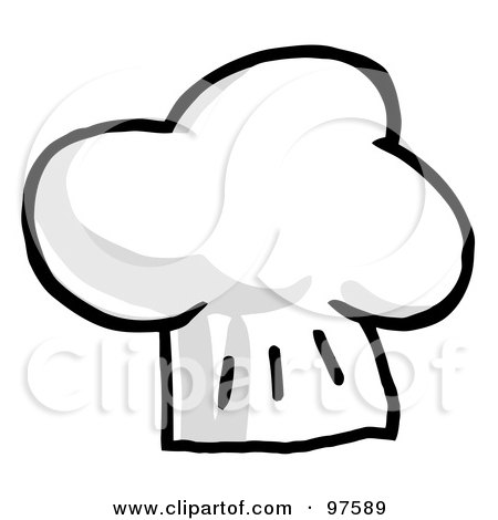 Royalty-Free (RF) Clipart Illustration of a Fluffy Grayscale Chef Hat by Hit Toon