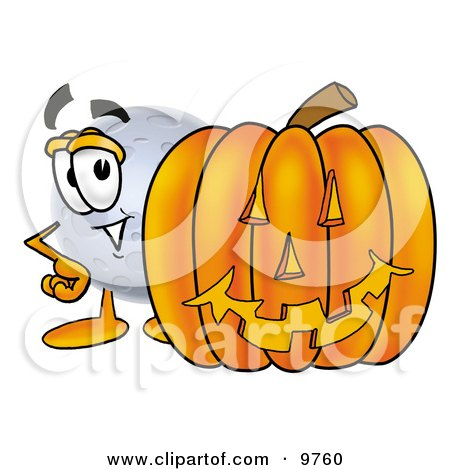 Clipart Picture of a Moon Mascot Cartoon Character With a Carved Halloween Pumpkin by Toons4Biz
