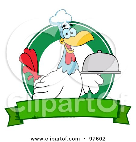 Royalty-Free (RF) Clipart Illustration of a Rooster Chef Serving A Platter Over A Circle And Blank Green Banner by Hit Toon