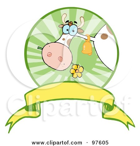 Royalty-Free (RF) Clipart Illustration of a Dairy Farm Cow Eating A Flower In A Circle Over A Blank Banner by Hit Toon