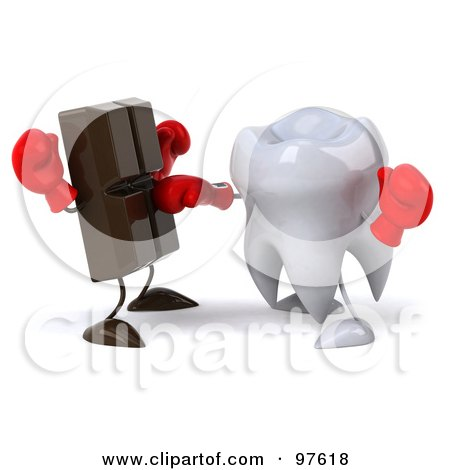 Royalty-Free (RF) Clipart Illustration of a 3d Dental Tooth Character Punching A Chocolate Bar by Julos