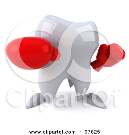 Royalty-Free (RF) Clipart Illustration of a 3d Dental Tooth Character Punching With Boxing Gloves by Julos