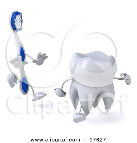 Royalty-Free (RF) Clipart Illustration of a 3d Dental Tooth Character Running From A Toothbrush by Julos