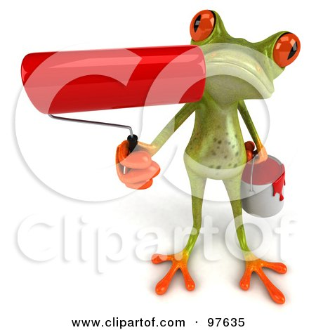 Royalty-Free (RF) Clipart Illustration of a 3d Springer Frog Holding Up A Red Paint Roller by Julos