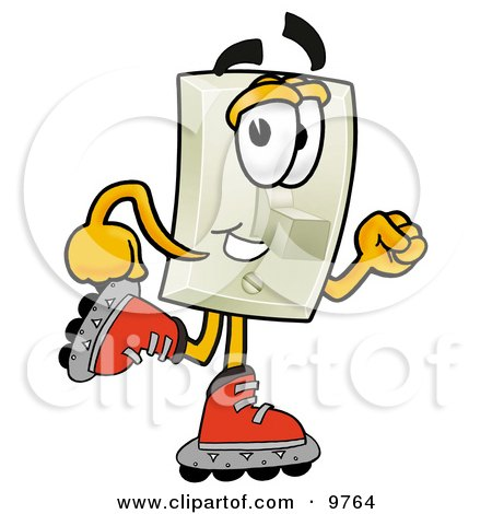 Clipart Picture of a Light Switch Mascot Cartoon Character Roller Blading on Inline Skates by Toons4Biz