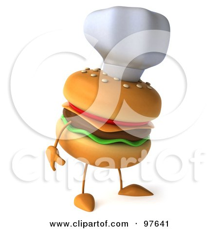 Royalty-Free (RF) Clipart Illustration of a 3d Cheeseburger Chef Wearing A Hat And Facing Right by Julos