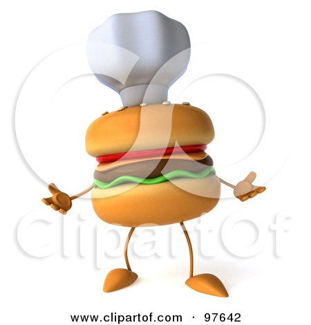 Royalty-Free (RF) Clipart Illustration of a 3d Cheeseburger Chef Wearing A Hat And Facing Front by Julos