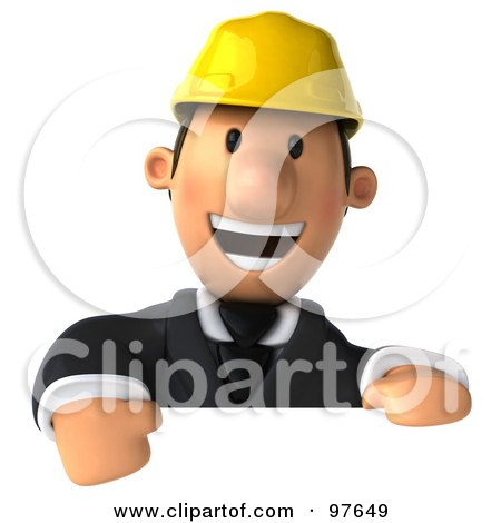 Royalty-Free (RF) Clipart Illustration of a 3d Male Architect Smiling Over A Blank Sign by Julos