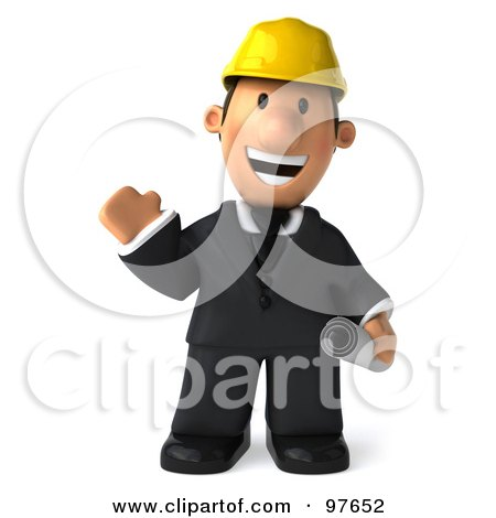 Royalty-Free (RF) Clipart Illustration of a 3d Male Architect Waving And Carrying His Plans by Julos