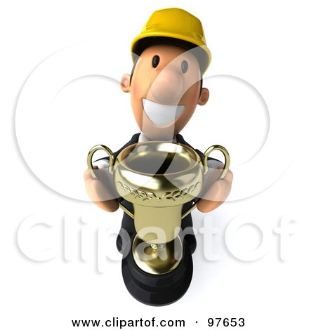 Royalty-Free (RF) Clipart Illustration of a 3d Male Architect Holding Up A Golden Trophy by Julos