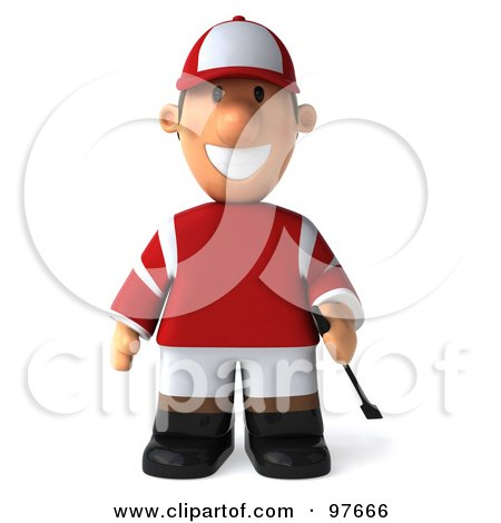 Royalty-Free (RF) Clipart Illustration of a 3d Jockey Man Standing And Facing Front by Julos