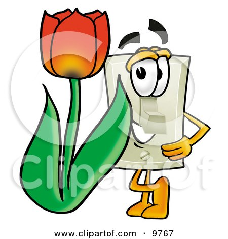 Light Switch Mascot Cartoon Character With a Red Tulip Flower in the Spring Posters, Art Prints