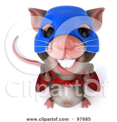 Royalty-Free (RF) Clipart Illustration of a 3d Chester Mouse Super Hero Smiling Upwards by Julos