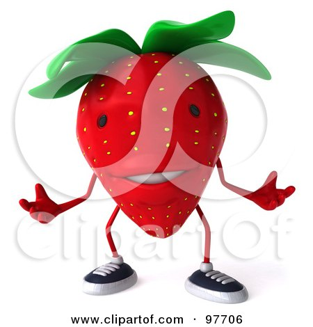 Royalty-Free (RF) Clipart Illustration of a 3d Strawberry Character Gesturing by Julos