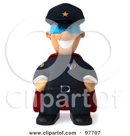 Royalty-Free (RF) Clipart Illustration of a 3d Police Toon Guy Super Hero Facing Front by Julos