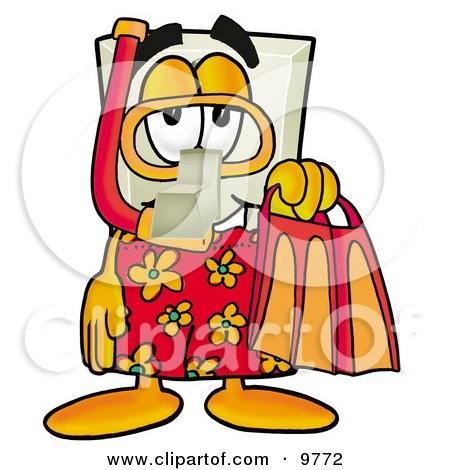 Light Switch Mascot Cartoon Character in Orange and Red Snorkel Gear Posters, Art Prints
