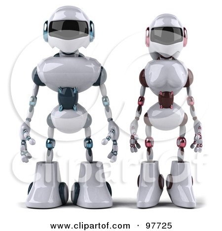 Royalty-Free (RF) Clipart Illustration of a 3d Techno Robot Standing Beside A Female Techno Robot by Julos