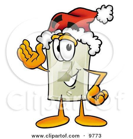 Light Switch Mascot Cartoon Character Wearing a Santa Hat and Waving Posters, Art Prints