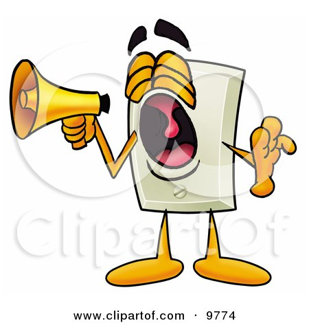 Clipart Picture of a Light Switch Mascot Cartoon Character Screaming Into a Megaphone by Toons4Biz