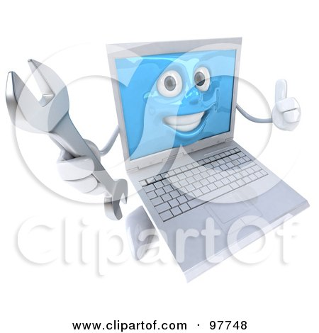 3d White Laptop Character Giving The Thumbs Up And Holding A Wrench Posters, Art Prints