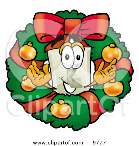 Light Switch Mascot Cartoon Character in the Center of a Christmas Wreath Posters, Art Prints