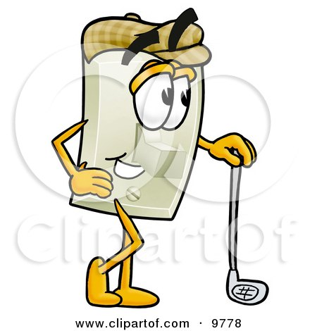 Light Switch Mascot Cartoon Character Leaning on a Golf Club While Golfing Posters, Art Prints