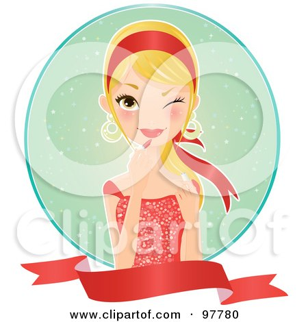 Royalty-Free (RF) Clipart Illustration of a Beautiful Blond Woman In A Red Dress, Applying Lipstick Over A Circle And Blank Banner by Melisende Vector
