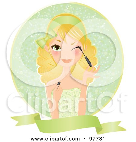 Royalty-Free (RF) Clipart Illustration of a Beautiful Blond Woman In A Green Dress, Applying Mascara Over A Circle And Blank Banner by Melisende Vector