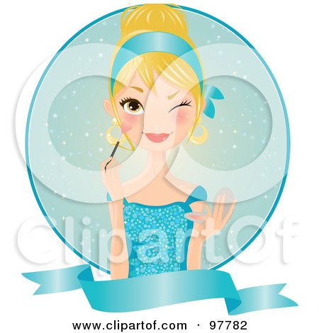 Royalty-Free (RF) Clip Art Illustration of a Beautiful Blond Woman In A Blue Dress, Applying Blush Over A Circle And Blank Banner by Melisende Vector