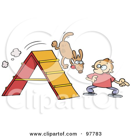 Royalty-Free (RF) Clipart Illustration of a Toon Guy Training His Dog On An Agility Course by gnurf